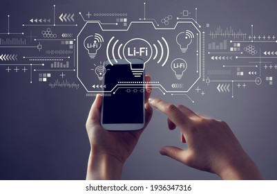 LiFi theme with person holding a white smartphone