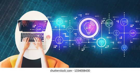 LiFi theme with person using a laptop on a white table