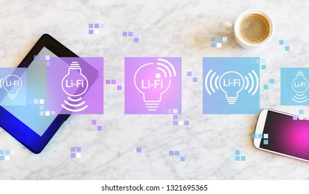 LiFi theme with a tablet computer and smart phone
