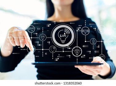 LiFi theme with woman using her tablet