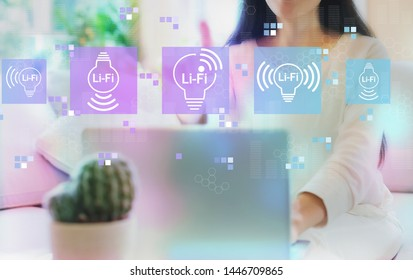 LiFi theme with woman using her laptop in her home office