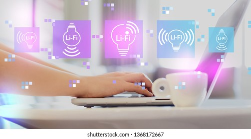 LiFi theme with woman using a laptop on a coffee table