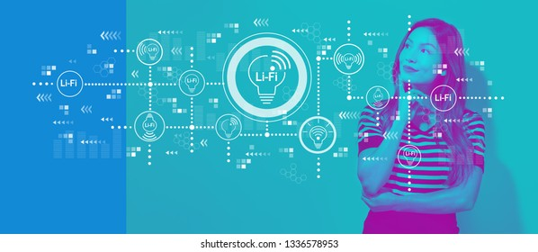 LiFi theme with young businesswoman in a thoughtful face