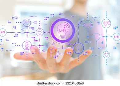 LiFi theme with young man holding his hand