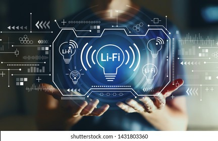 LiFi theme with young man in the night