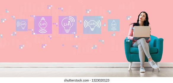LiFi theme with young woman using a laptop computer