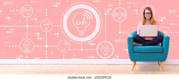 LiFi theme with young woman using her laptop in a chair