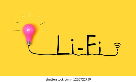 Li-Fi wireless communication concept with a light bulb on a yellow background