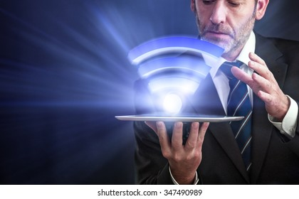 Li-Fi W-Lan technology, internet and networking concept - Businessman activates Li-Fi High speed connection