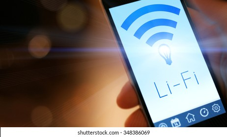 Li-Fi W-Lan technology, internet and networking concept - Young man activates Li-Fi High speed connection