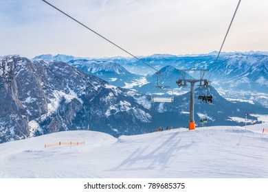 Lift bringing skiers to the top of Bad Aussee skiing resort in Austria