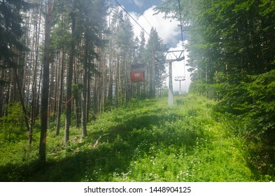 Lift climbs above Sofia in Vitosha National Park