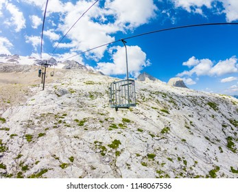 Lift at the Masif Marmolada Glacier Dolomites Italy. Cable car to the Marmolada massif.