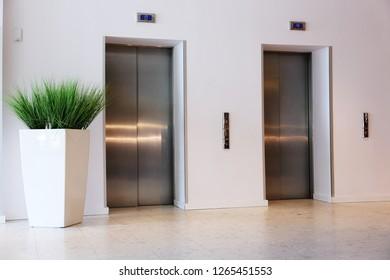 lift with metal door for hotel guests