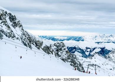 A lift to the top of Kitzsteinhorn ski slopes. Kaprun, Austria.