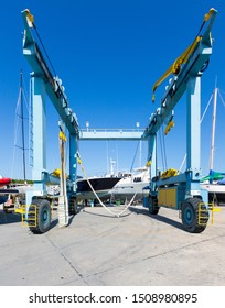 Lift for yachts. A huge elevator that lifts motor yachts, boats and sailing yachts to install them on the ground for maintenance and repair. Repair equipment for ordinary and luxury yachts