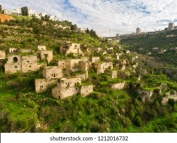 Lifta - an aerial view of an abandoned village in the spring time on the outskirts of Jerusalem.