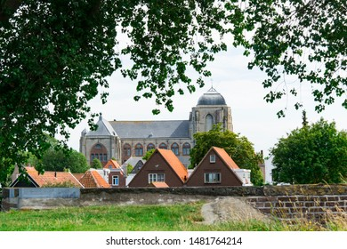lifting bridge and row houses along water in Veere, The Netherlands