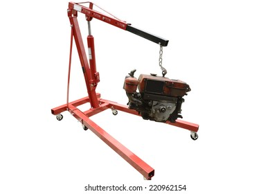 Lifting the engine crane on a white background.