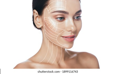 Lifting lines, advertising of face contour correction, skin and neck lifting. Facial rejuvenation concept, cosmetology - Shutterstock ID 1899116743