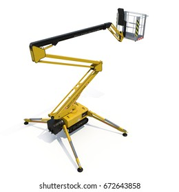 Lifting machine isolated on white. Rear view. 3D illustration, clipping path