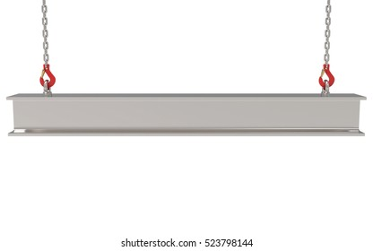 Lifting the steel beam isolated on white background 3D rendering