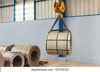 Lifting steel coil by overhead crane, material handling