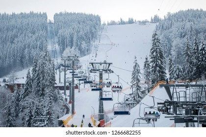 lifts of the Bukovel ski resort, the theme of mountain sports, skiing,  ski track 2A