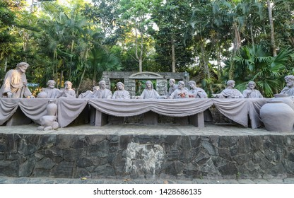 """LIGAO, ALBAY / PHILIPPINES - MARCH 30, 2019: Life size statue of the """"Last Supper"""" at the Divine Mercy Shrine, the church near Kawakawa Hills Natural Park"""