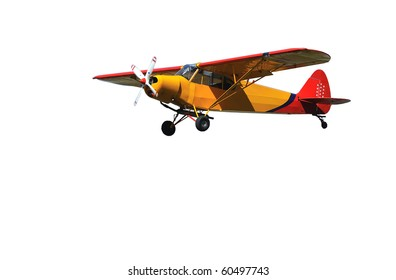 light 2-seater aircraft in red and orange.  Isolated on against a white background