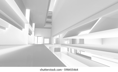 Light abstract modern architecture background. 3d rendering. 3d illustration