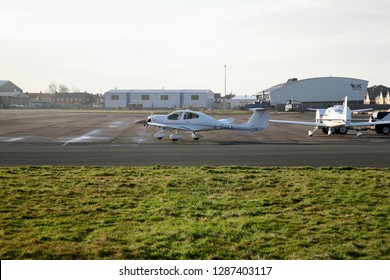 A light aircraft leaves the hangar and makes it way to the airfield, Blackpool Airport, Blackpool, Lancashire, England, Europe on Monday, 14th, January, 2019