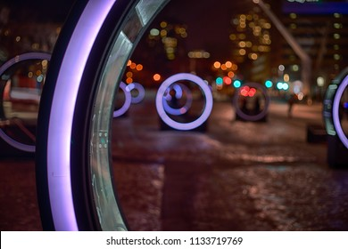 Light art installation during winter time in Montreal's quartier des spectalces.