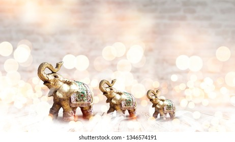 Light background of the room, brick walls, light bokeh, magical atmosphere. Indian elephant on a light background with bokeh.