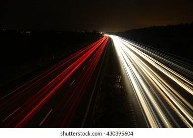 Light beam of cars in the night