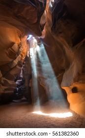 Light beam underground at Upper Antelope slot canyon. Landscape Photography