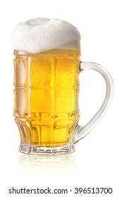 Light beer glass with thick white foam isolated on white background