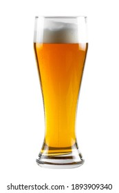 Light beer in a glass - weiss. Glass isolated on white with clipping path.