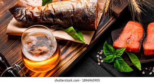 Light beer and salted red fish banner for website