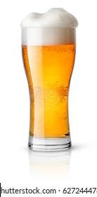 Light beer in sweaty glass