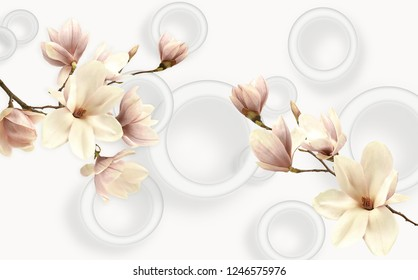 light beige background with three-dimensional circles and two branches of orchids