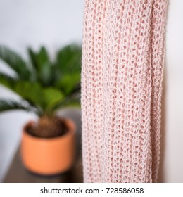 light beige woolen crochet snood