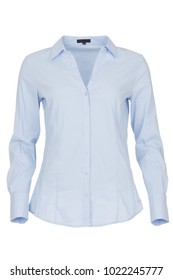 Light blue basic women's fashion shirt, photographed on ghost mannequin, isolated on white background. Front view.