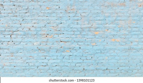 Light blue brick wall texture, panoramic background
