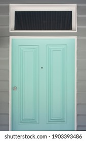 Light blue, cerulean, olympic, azure, turquoise colored door in Sydney, Australia