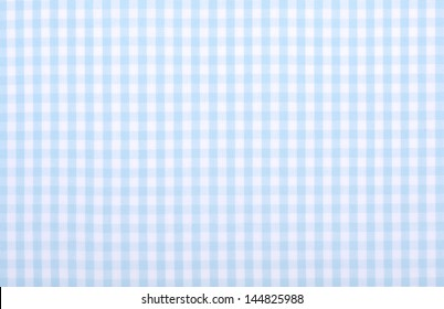 light blue checkered fabric closeup , tablecloth texture