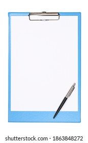 Light blue clipboard with empty white paper sheet for design and text and black pen. Close-up photo with copy space isolated on white background.