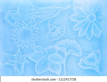 light blue draw of flowers, made with pastels on raw white paper