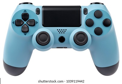 Light blue gaming controller isolated on white background.
