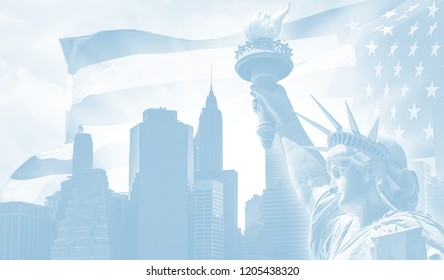 Light blue image of the symbols of USA and New York City. Manhattan Skyline, Statue of Liberty and American flag.